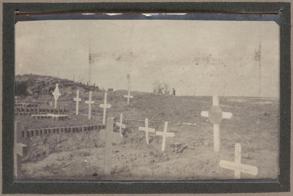 Makeshift soldier cemetery on the site of the battlefield at Pozieres, 1916. Photo by Private John Edward Lord, 12th Field Ambulance