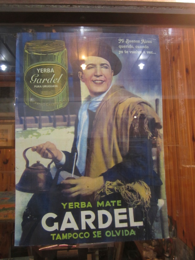 An old advertisement for yerba mate on display in one of those odd old galerías that run through the blocks surrounding the avenue 18 De Julio in the Centro area of Montevideo.