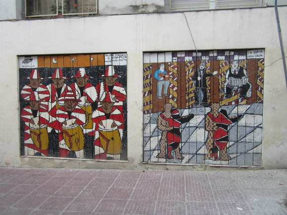 One wall along the street of Pérez Castellano in the Ciudad Vieja neighborhood of Montevideo