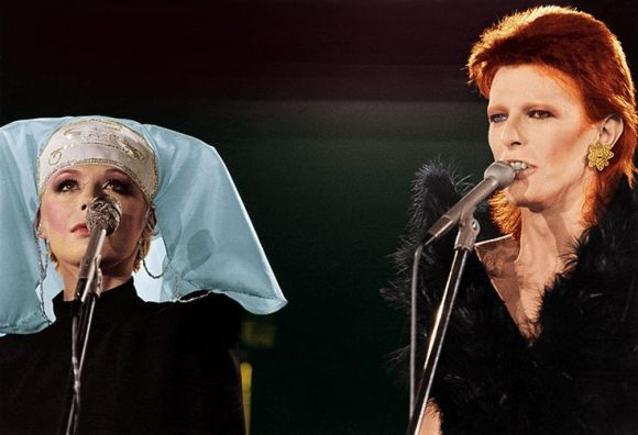 "[Marianne Faithfull & David Bowie sing Sonny & Cher's ""I Got You Babe"" for Bowie's last appearance as Ziggy Stardust, the odd cabaret-style one-hour TV special, ""The 1980 Floor Show."" Filmed over 3 days in October 1973 at the Marquee Club in London, it was aired late-night on NBC, 16th November 1973]"