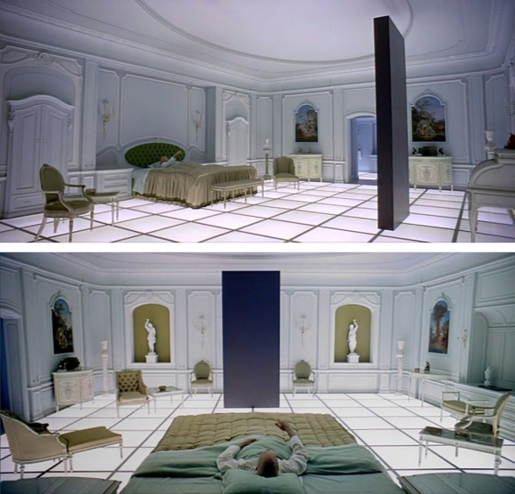 Frames from Kubrick's 1968 epic science fiction 2001: A Space Odyssey.
