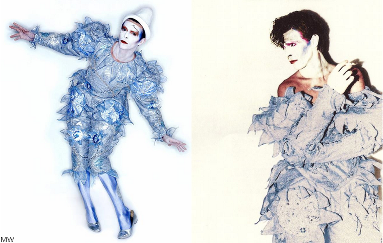 Bowie as Pierrot for 1980's Scary Monsters (And Super Creeps) [photo by Brian Duffy, makeup design by Richard Sharah, costume designed by Natasha Kornilof] Although Bowie's sense of performance was certainly expressive, he always employed an economy of movement that comes from the traditions taught by Kemp.