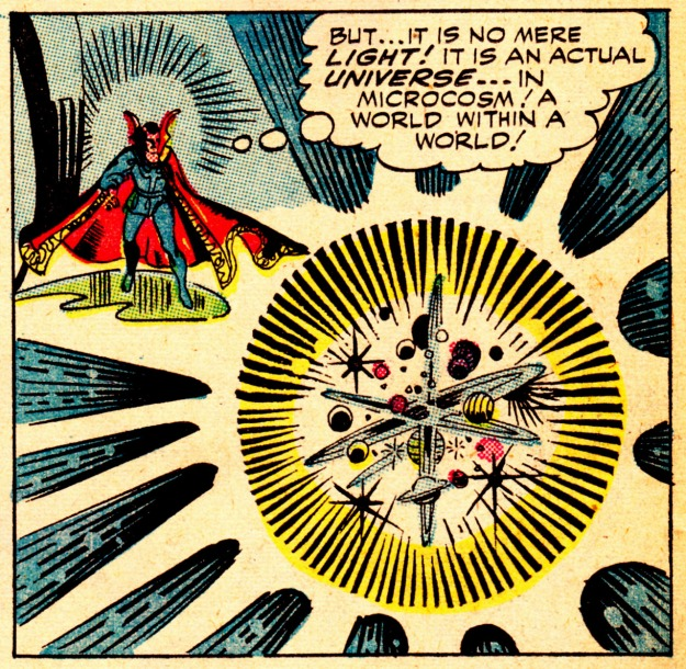 [Beautiful detail of an illustration by the legendary Steve Ditko for his creation Doctor Strange, published by Marvel Comics in STRANGE TALES #138 (Nov. 1965)]