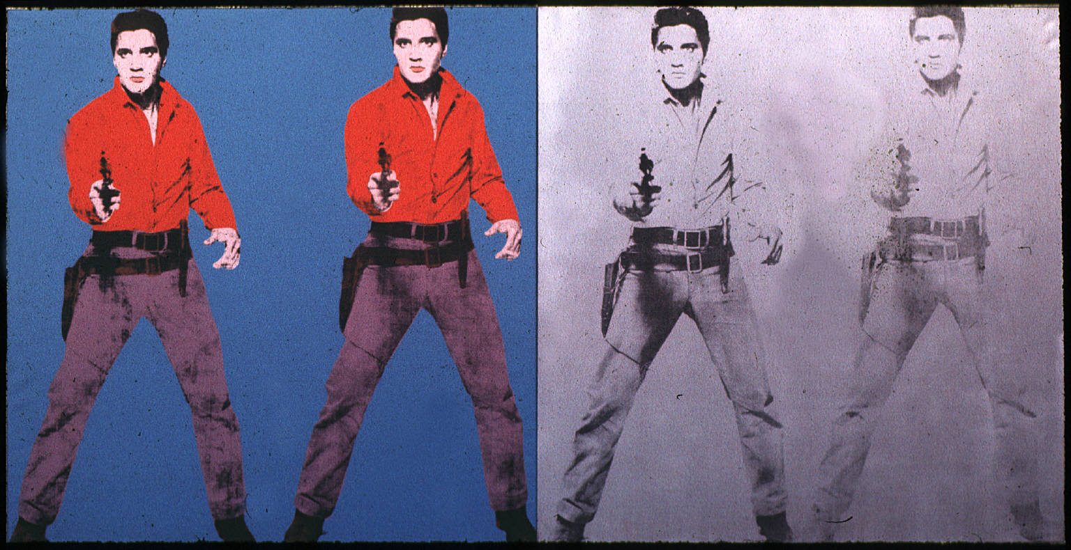 [Elvis I & II by Andy Warhol, 1963. The original images images of Elvis were taken from a publicity still for the 1960 movie Flaming Star. Based on the 1958 book Flaming Lance by Clair Huffaker, the western film had an original working title of Black Star.