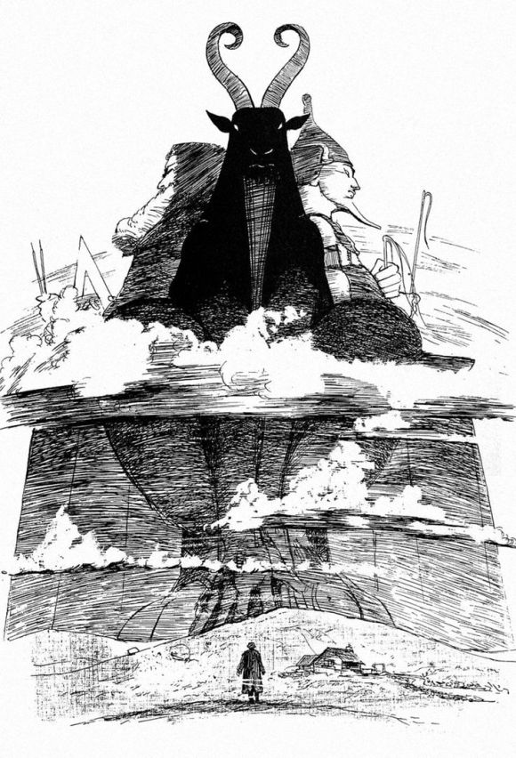 "[Surgeon to Queen Victoria and serial killer ""Jack the Ripper,"" William Withey Gull encounters his Masonic god Jahbulon in Alan Moore and Eddie Campbell's From Hell, which explores how this ritual murderer served as midwife to the birth of the Twentieth Century where a male hegemony has societal dominance over women and the rstern, ational, Apollonian conscious mind dominates over the fertile irrational, Dionysian unconscious."