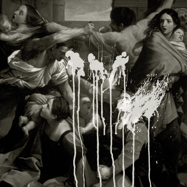 [Heathen interior art by Jonathan Barnbrook; based on the 1611 painting Massacre of the Innocents by Italian Baroque painter Guido Reni]