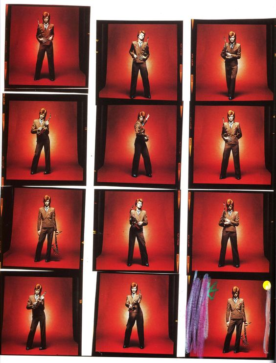 "[Contact sheet for the late 1973 photo session later used for the February 1974 release of the single ""Rebel Rebel"""