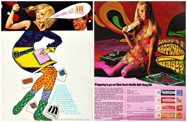 "Montag Stationery (R) Ad for Clark Gum 1967 ""A Happening is you and Clark's Gum Shuffle Shift Party Kit. You're wearing our kicky Shuffle Shift"" begins the ad copy. ""You're listening to a 2-sided stereo LP record of the famous Clark Gum Shuffle. And you're doing that groovy TV dance! The kit includes illustrated instructions. Send for a Clark shuffle shift Party Kit. Its packed in a turned on fashion carry-all bag and consists of the disposable shuffle shift in your size, the stereo LP with 12 minutes of swinging shuffle tunes, and a super stick of Clark Fruit Punch gum."""