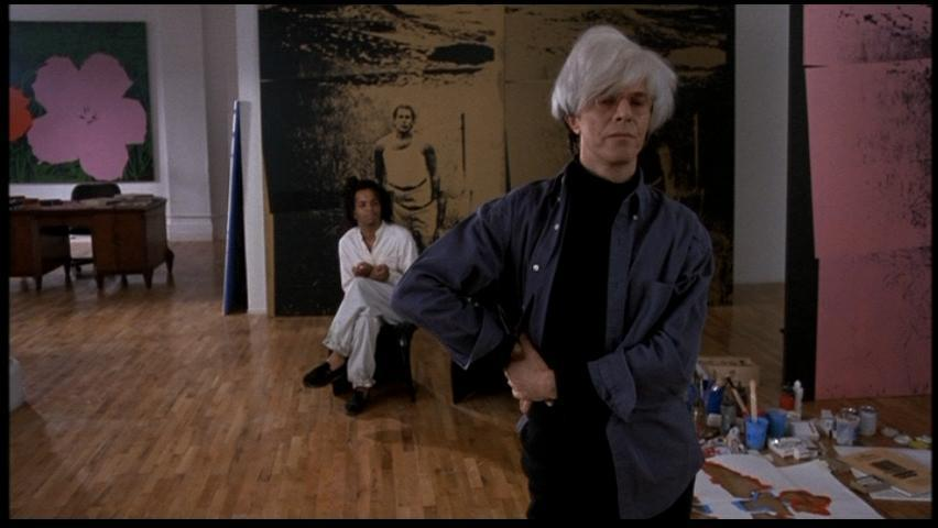 [Jeffrey Wright & David Bowie as Basquiat & Andy Warhol in Julian Schnabel 's 1996 film Basquiat]