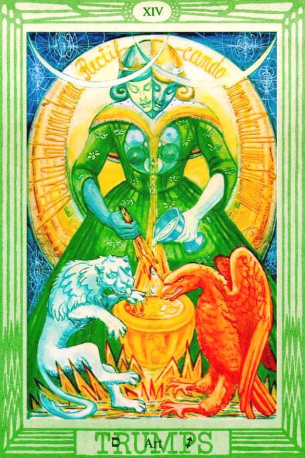 [Trump XIV: Art in The Thoth Tarot created by Lady Frieda Harris according to instructions from Aleister Crowley. An alchemical allegory of inner equilibrium between the polarities of silver Imagination & gold Will]