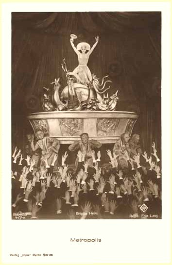 [the great Brigitte Helm as False Maria/Die Grosse Babylon in Fritz Lang's German expressionist masterpiece of 1927, Metropolis]