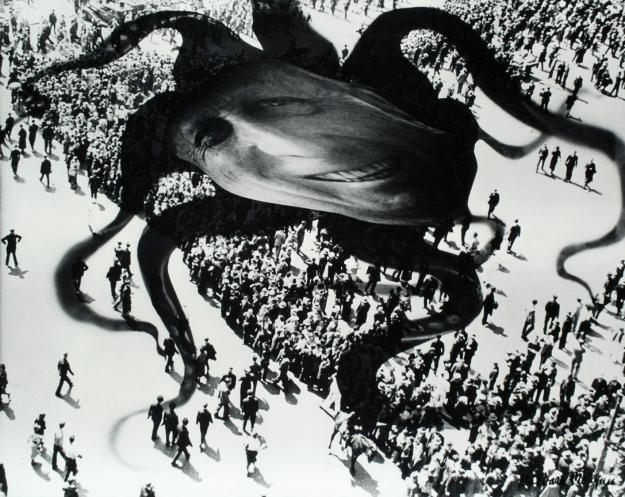 [Already in 1939 photographer Barbara Morgan created this surrealist-inspired photomontage Hearst Over the People to express her concern over the media-tycoons power and influence over the people by portraying him as a monstrous, Lovecraft-like deity.]