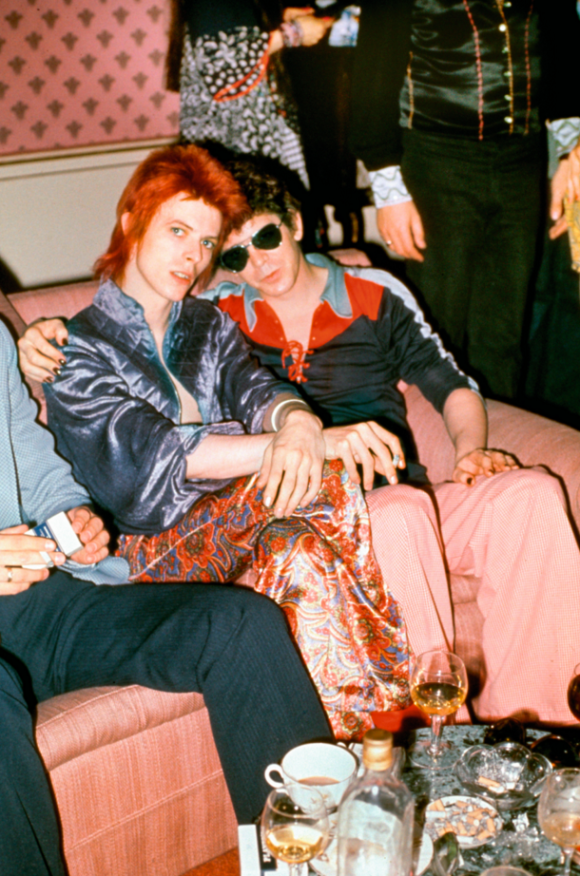 [Bowie, Lou Reed, Dorchester Hotel, London, 1972. photo by Mick Rock]