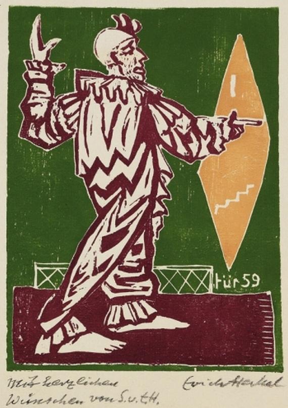 [Clown am Spiegel (Clown on Mirror) by Erich Heckel , 1958]