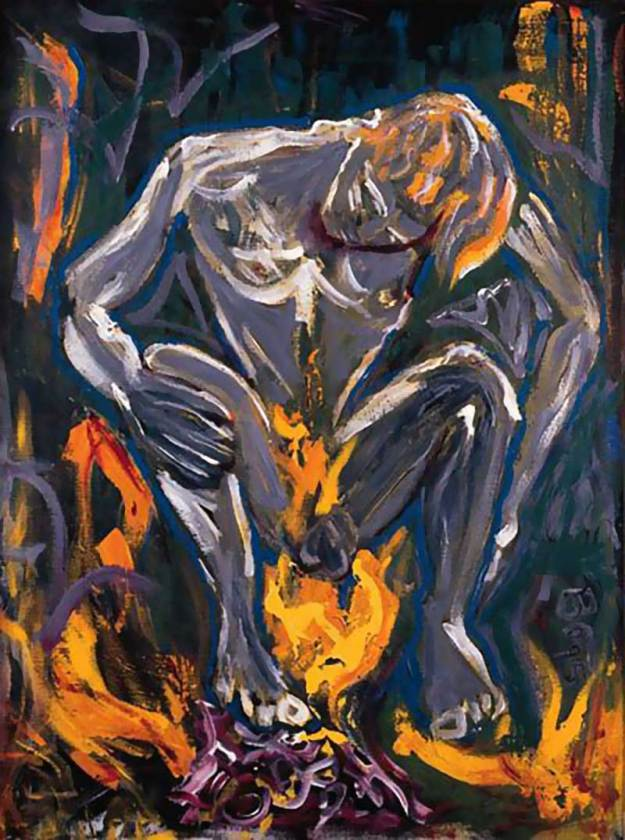 """[Bowie's 1995 painting, """"Hearts Filthy Lesson"""""""