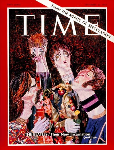 [art by Gerald Scarfe for the cover story concerning Sgt. Pepper's Lonely Hearts Club Band in the Sept. 22, 1967, issue of Time.