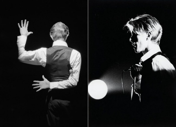 [Bowie performing for his Isolar Tour (Feb.-May 1976) in support of the album Station To Station, photo by Andrew Kent]