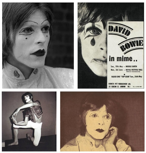 [During Marc Bolan's 1969 T. Rex tour Bowie was the opening act, performing his one-man mime routine depicting China's invasion of Tibet. The Communist sympathizer students booed]