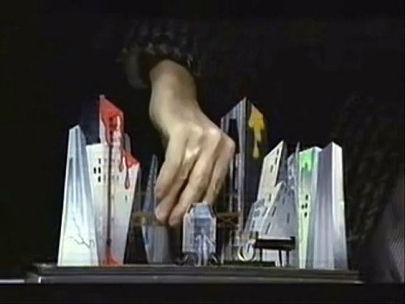 [Diamond Dogs Show stage set model demonstration]