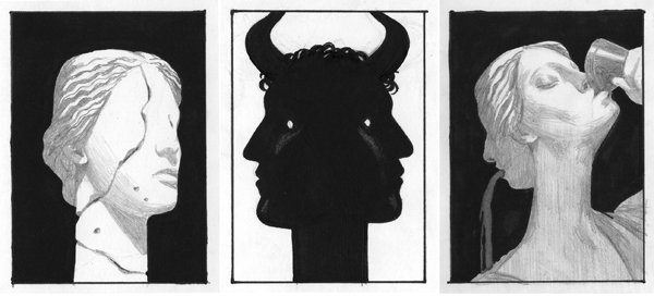 [Edward Kinsella illustration for the Criterion Collection edition of 1969 Italian Federico Fellini's 1969 film Satyricon]