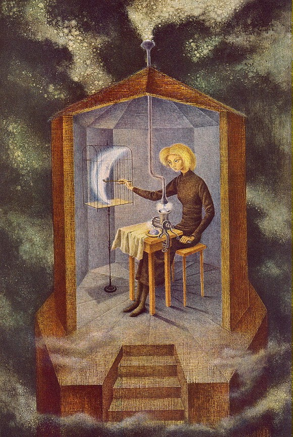 "[Papilla Estellar (Celestial Pablum) by Remedios Varos, 1958. Varo depicted a woman seated in an octagonal tower, her meat grinder churning out food from the stars to feed the moon, which is enclosed in a cage. This woman is camouflaged as a housewife, but on an esoteric level she is nurturing the cosmic powers connected to the moon and to the feminine principle of creation"" - Gloria Feman Orenstein]"