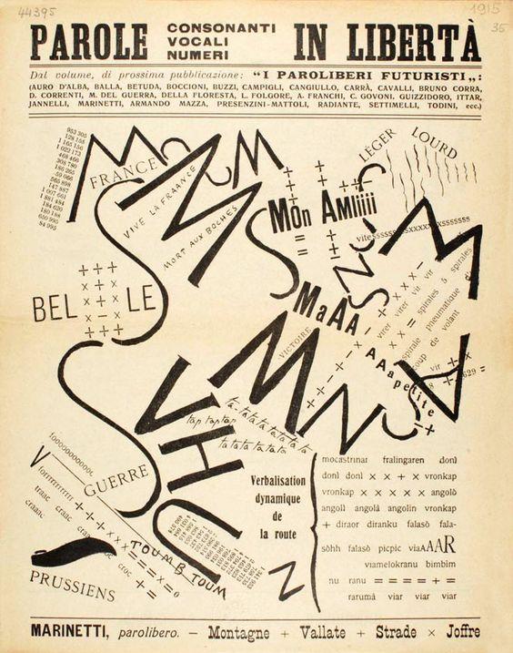 [Filippo Tommaso Marinetti, Parole in Libertà (Words in Freedom), 1915]