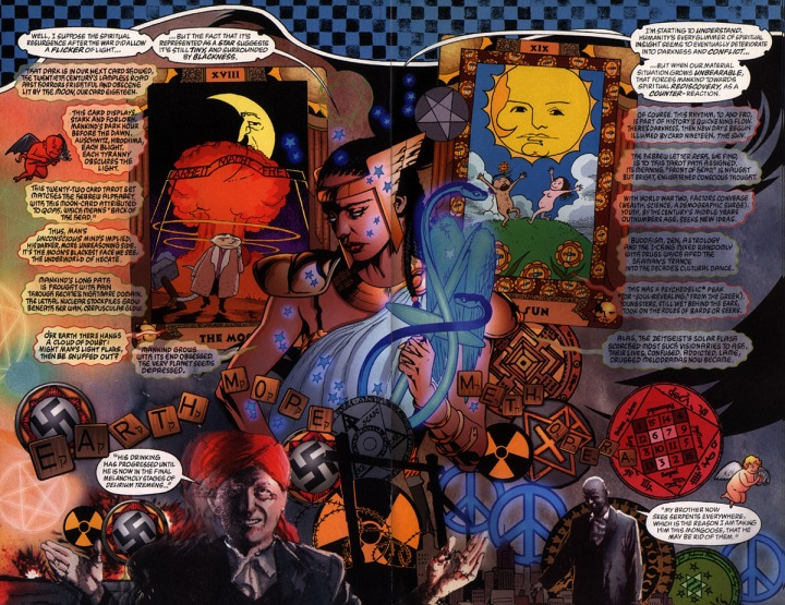 [some of J. H. Williams III's incredibly inventive art for Alan Moore's mystic masterpiece of the comic book medium, Promethea (published from 1999 to 2005)]