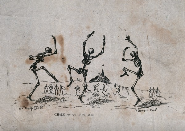 Skeletons dancing. Etching by R. Stamper after C. Sharp (1722-1797)]