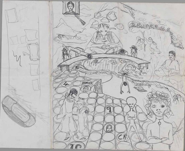[Bowie's sketch for Space Oddity, 1969]