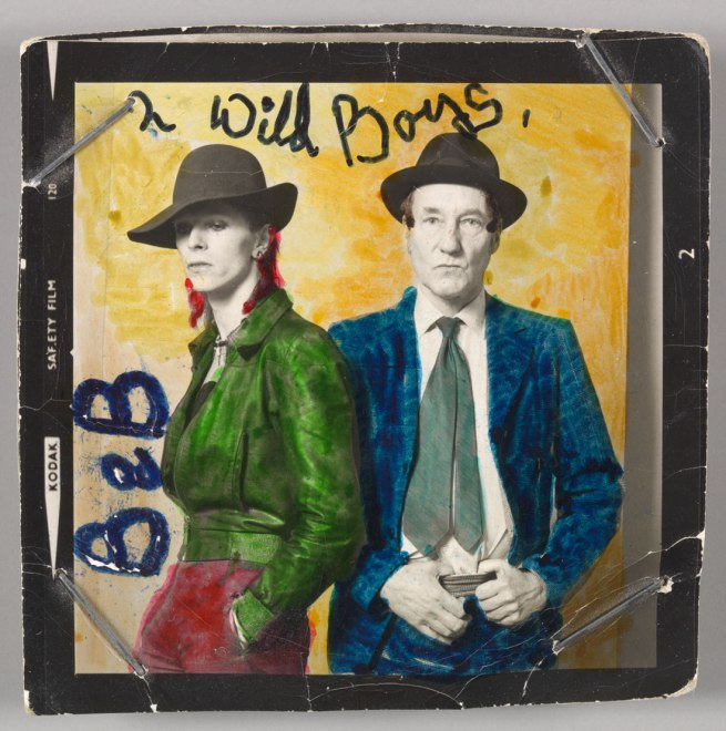 [David Bowie with William Burroughs, February 1974, Photograph by Terry O'Neill with colour by David Bowie]