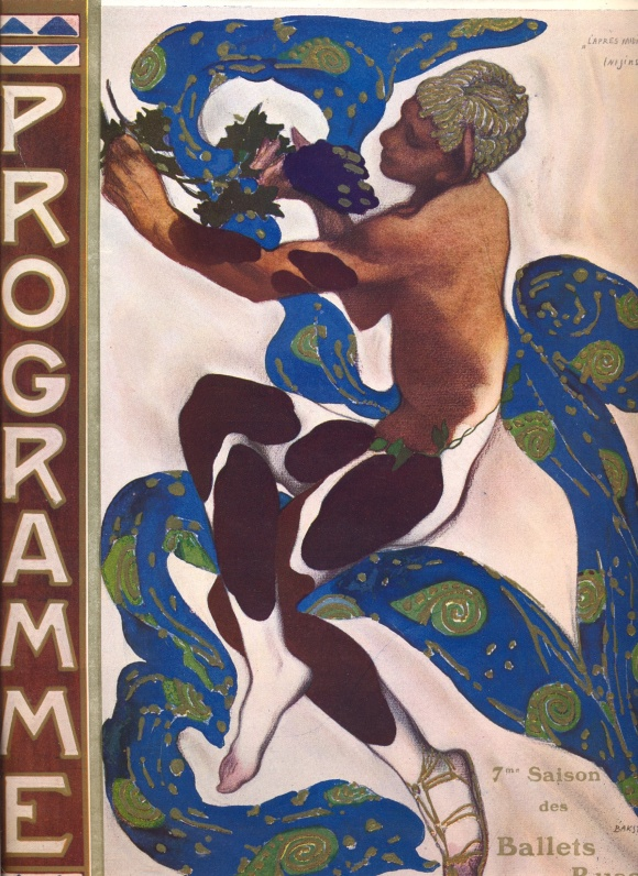 Program illustration by Léon Bakst. In 1912 Debussy's piece was made into a short ballet with costumes and sets by painter Bakst, choreographed and performed by renowned Ballets Russes dancer Vaslav Nijinsky.