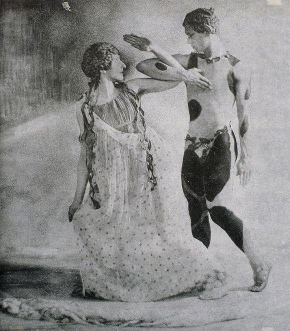 [Lydia Nelidova and Vaslav Nijinsky entwined.]