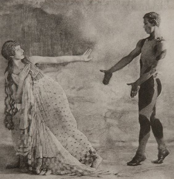 [Lubov Tchernicheva as a Nymph and Vaslav Nijinsky as the Faun [photo by Baron Adolf de Meyer, Vogue's First Staff Photographer]