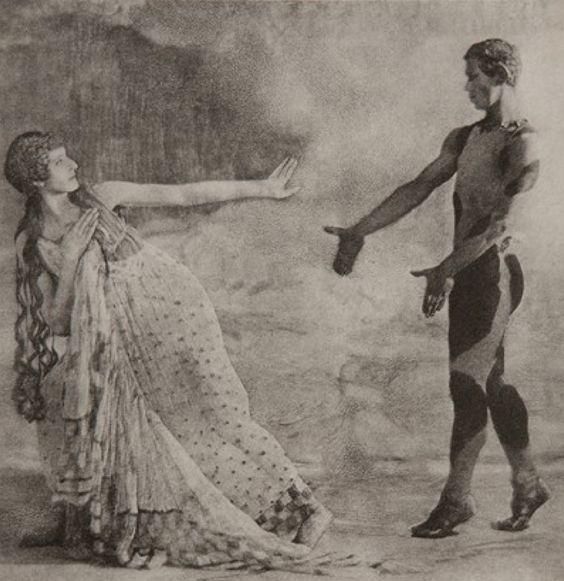 [Lubov Tchernicheva as a Nymph and Vaslav Nijinsky as the Faun [photo by Baron Adolf de Meyer, Vogue's First Staff Photographer]