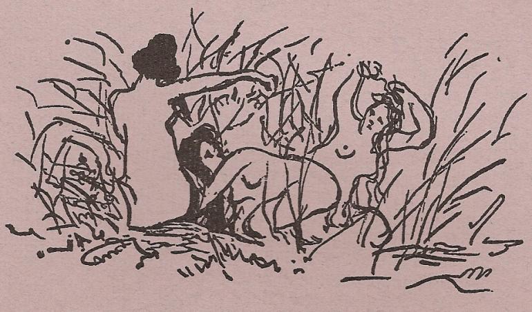 [1876 Engraving by Edouard Manet for Mallarmé's Après-midi d'un faune.]