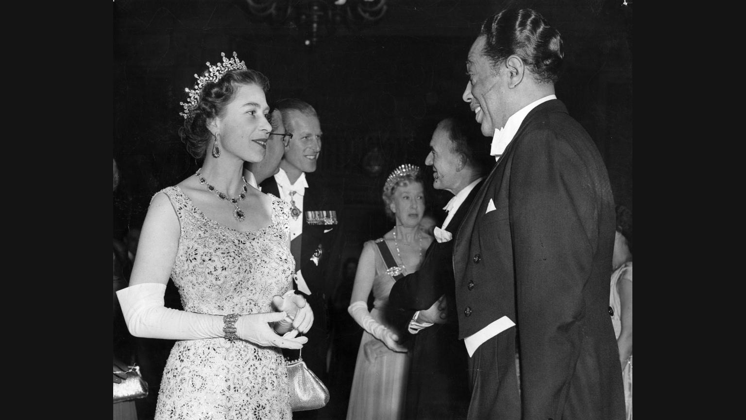 [Duke Ellington meets Queen Elizabeth II at Leeds in 1958]