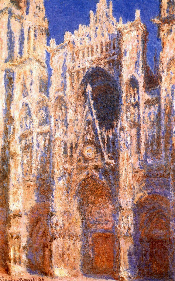 "[Despite Debussy's rejection of the ""Impressionist"" label, one can see why Margaret Lam would state that when considering ""Debussy's vision focused on the colours and textures of sound, rather than the established structures and grammar of music"" […] ""Claude Monet's paintings, like Rouen Cathedral, Portal in the Sun, 1894, may be more helpful in understanding the music of Claude Debussy than other types of analysis.""]"