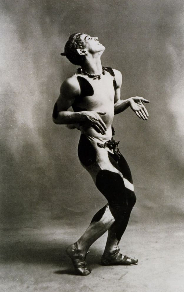 [Vaslav Nijinsky as the Faun [photo by Baron Adolf de Meyer.]